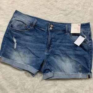 So Favorite midi rolled hem distressed jean shorts